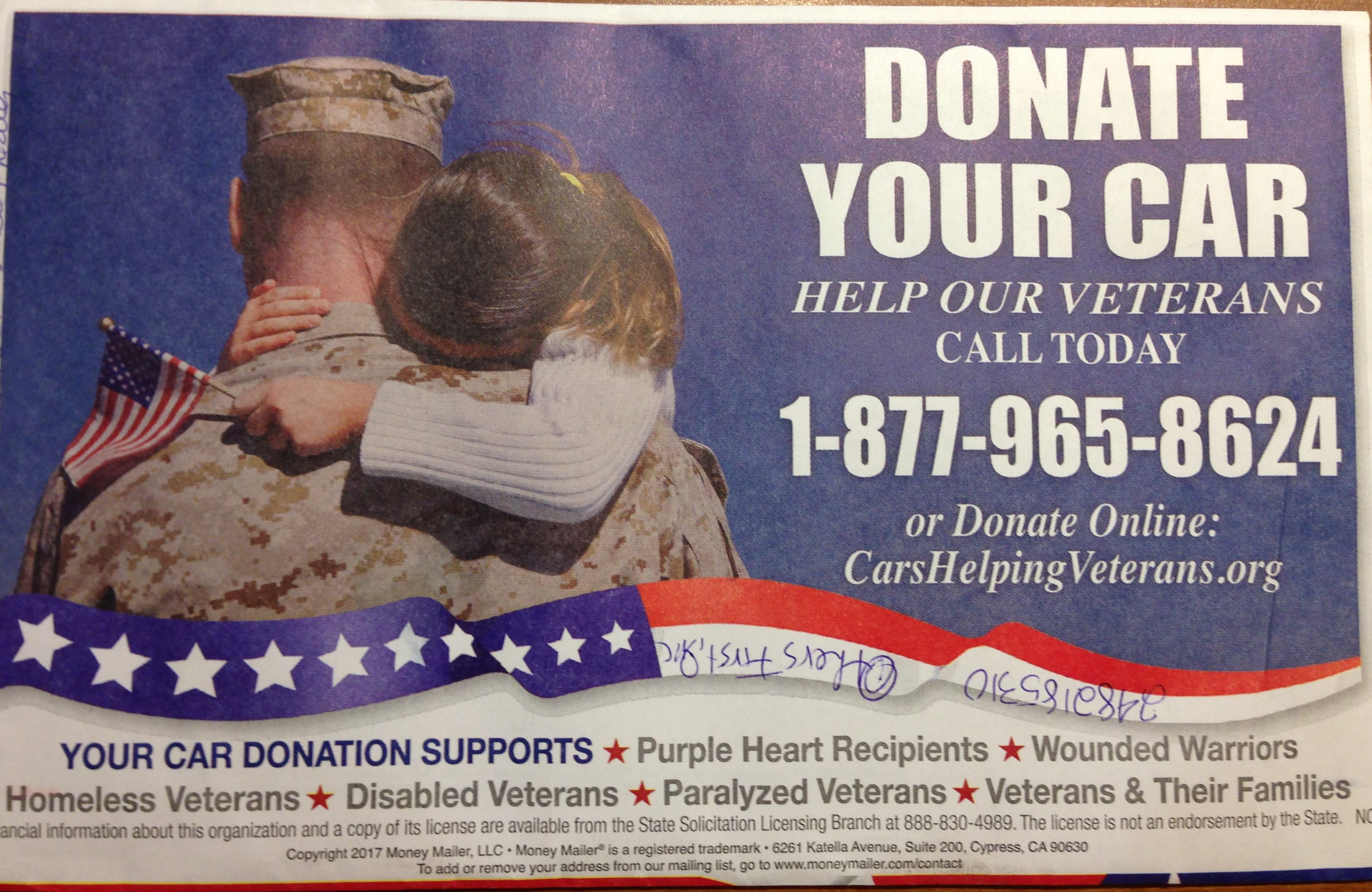 cars helping veterans (others first, inc): donor beware | paddock post