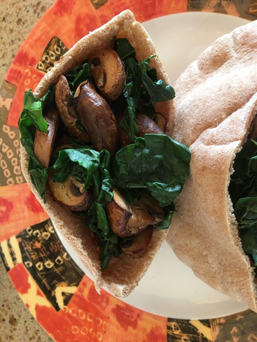 Kale and Mushroom Pita